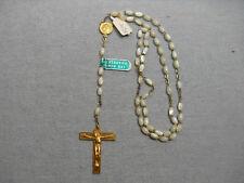 Chapelet de communion ancien, 59 perles nacre, neuf ancien stock, 39 cm