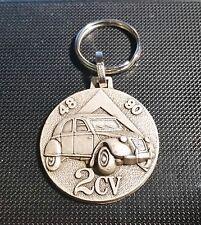 CITROEN 2CV Round Keychain Keyring Silver Relief - Mass Emblem CA 1 1/2In