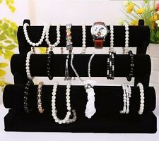 Black 3-Tier Velvet Watch/Bracelet Jewellery Display Organizer Stand Holder UL
