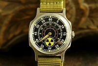 For men POBEDA Aviator Wristwatch Radiation vintage USSR 12 Hours Strap Mens