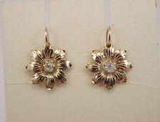 ORECCHINI FIORE ORO VINTAGE OLD STYLE ORO DIAMANTI EARRINGS GOLD DIAMONDS