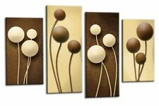 LARGE ABSTRACT CIRCLES ART PICTURE BROWN AND CREAM CANVAS SPLIT MULTI PANEL