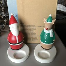 P91371 PartyLite Nick and Rudy Tealite Holders - RARE RETIRED - Christmas Xmas