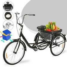 24 Zoll Dreirad 3 Räder 3-Rad-Fahrrad Trike Cruise Lenker mit Korb Geschenke