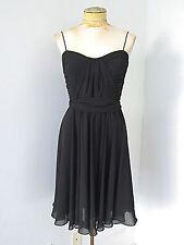 Ralph Lauren black crepe chiffon swishy cocktail dress draped pleated top Sz 6