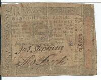 1773 Colonial Philadelphia Pennsylvania PA163 Eighteen 18 Pence Currency 27982