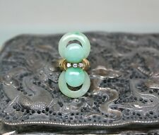 14K Solid Yellow Gold, Natural Untreated Jadeite Jade and Diamond Ring Size 7