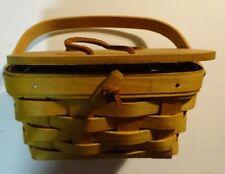 2006 Small Longaberger Basket Leather Hinges, Lid Handle & Plastic Protector