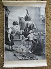 VINTAGE  1960 s  FRENCH SILK STEVENGRAPH   CHILDREN AT PLAY WITH KITTENS