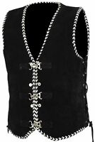 New Motorcycle Motorbike Classic White Braid Trim Side Laced Suede Leather Vest