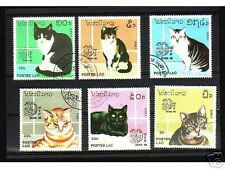 0917++LAOS   SERIE TIMBRES  CHATS  N°3