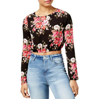 Polly & Esther Juniors Floral Print Tie Back Crop Top, Size Small