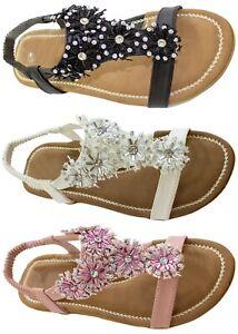 Flat Sandals Floral Diamante Elastic Strap Open Toe Summer Beach Shoes Womens
