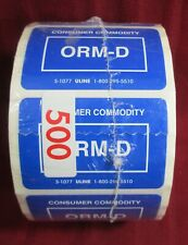 2 Rolls Other Regulated Material 2.25x1.5 Consumer Commodity Orm-D 500 Labels Ea
