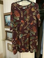 Isaac Mizrahi Live! Womens Plus Size 1X 3/4 Sleeves Feather Print Dress