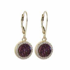 Gold Plated Sterling Silver Burgundy Druzy Quartz CZ Women Dangle Earrings