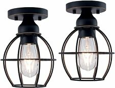 YaoKuem Flush Mount Ceiling Light Fixture 2-Pack Oil Rubbed Bronze Finish