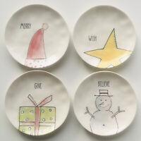 "Rae Dunn Plate Set Christmas Merry Give Believe Wish Noel Melamine 4 Plates 6"""