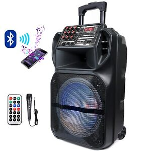 "15"" Bluetooth Portable FM Speaker Heavy Bass Tailgate Stereo PA System MIC AUX"