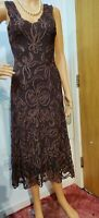 PHASE EIGHT FITTED TAPEWORK DRESS SIZE UK 8 US 4 BROWN CREAM 13