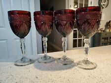 Cristal D'Arques Durand Antique Ruby Red Cut Glass Goblets w/ Clear Stems 4