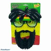 World's Easiest Halloween Costume Sun-Stache Beard Glasses Jamaican Rasta Mask