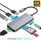 USB C Hub 7 in 1 Aluminum with HDMI 4K Adapter 3 USB 3.0 Ports SD/TF Card Reader