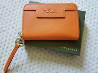 NEW Longchamp Paris LE PLIAGE NEO Orange Leather Zip Around Card Coin Wallet