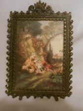 vintage fancy framed Italy picture victorian scene men women sheep
