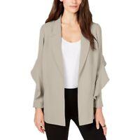 Alfani Blazer Jacket Flounce Suit Separate Open-Front Women Brown Sz L NEW 281