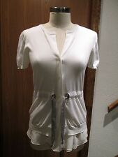 Brunello Cucinelli White Belted Cardigan Top Size M