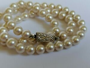 Vintage Cream Luster FAUX PEARL NECKLACE 925 Silver Gilt Box CLASP 1970'S