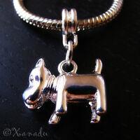 Scottie Dog, Scottish Terrier Puppy Dog Charm For European Charm Bracelet Chains