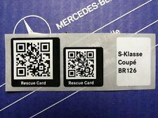 Original Mercedes Aufkleber Rescue Card QR-Code für W126 Coupé