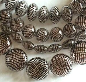 50 Pcs Hollow Hand Blown Art Glass Lampwork Beads Mixed Lot Brown Round Rondelle
