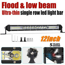 Ultra-thin 12inch 300W LED Light Bar Spot Flood Combo Offroad SUV Single Row 12""
