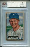1951 Bowman Baseball #1 Whitey Ford Rookie Card RC Graded 3 HOF New York Yankees