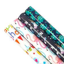 4Pcs Gift Wrapping Paper Roll Flamingos/Dinosaurs/Unicorns Design Present Decor
