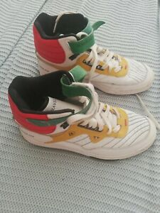 Vintage Travel Fox Troop Mens Multicoloured White Leather Hi Trainers UK Size 8
