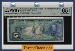 TT PK 49 1966 VENEZUELA BANCO CENTRAL 5 BOLIVARES COMMEMORATIVE PMG 65 EPQ GEM!