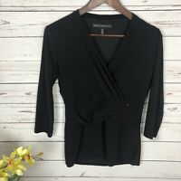 White House Black Market V-Neck Faux Wrap 3/4 Sleeve Shirt Top Women's Size XS