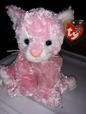 "2004 TY CLASSIC 10"" Plush CARNATION CAT Kitty PINK White Beanie Buddy BLUE EYES"