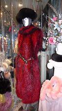 RARE Shade Dyed Silver Fox Fur Long Vest Burgundy Black Superior Quality UNIQUE