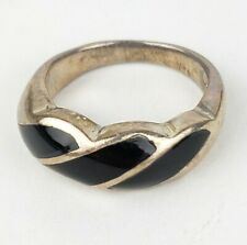 Vintage Sterling Silver 925 & Black Enamel Ring Size 7