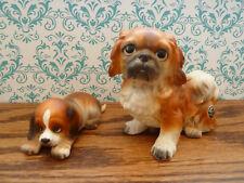 2 Vintage Josef Originals Pekingese Dog & Hound Puppy Round Label Japan