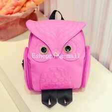 Womens Girls PU Leather Owl Backpack Shoulder Schoolbag Travel Rucksack Bag UK Hotpink