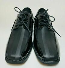 Robert David Baby Toddler Boys Dress Shoes Black Patent w/Satin  Stripes Size6M