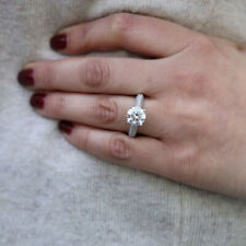 Solitaire Real Diamond Engagement Platinum Rings Round Cut 1.50 Ct Size M N P