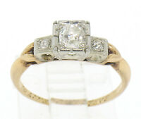 Antique Victorian 14k Two Tone Gold Cushion Old Mine Cut Diamonds 3 Stone Ring