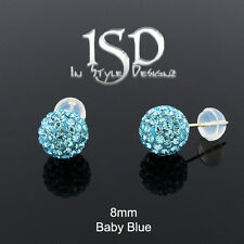 14k Yellow Gold Women 8mm Baby Blue Austrian Crystal Disco Ball Stud Earrings